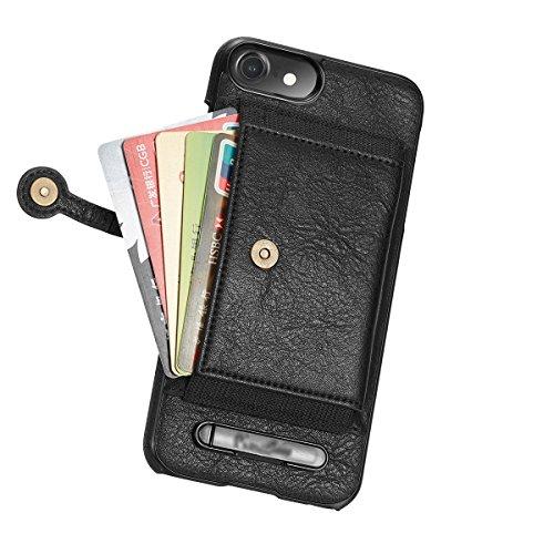 """xhorizon Vintage PU de haute qualité Portefeuille de Protection en Cuir Fermeture Magnétique Slot Carte de Crédit Support de Protection Housse Antichoc pour iPhone 7 [4.7""""] Noir"""