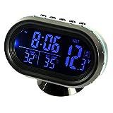 Auto Uhr Thermometer Voltmeter Multifunktion, KFZ Spannungs Anzeige, Temperatur Messgerät, Zigarettenanzünder Batterie Tester, LED Digital Leuchtende Uhr, Hintergrundbeleuchtung Mit Knopf Batterie 12V (blau)