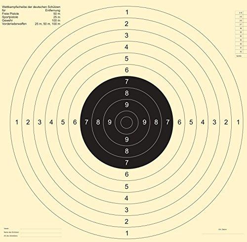 Druckteam Schleede & Partner Schießscheiben Sportpistole Präzision (50 Stück MIT Einsteckschlitz)