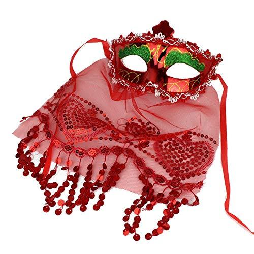 PICCOLI MONELLI Venezianer Damen Sexy in Rot Karneval Venezia mit Velo ()