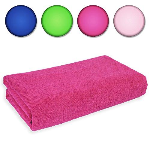 Belmalia Mikrofaser Hand-Tuch XXL sehr saugfähig und schnell-trocknend 180 x 75 cm Pink