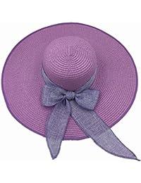 Nikgic Foldable Women Straw Sun Hat Wide Brim Summer Beach Cap Bowknot  Floppy Sun Hat Sun cef8cd9d8573