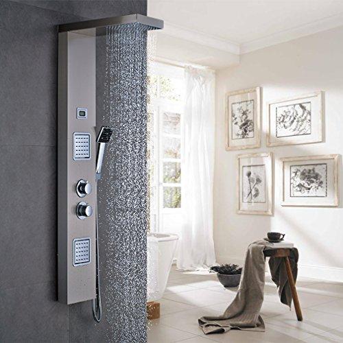 OBEEONR® Thermostat Brausegarnitur Set Duschpaneel Regendusche mit LCD Display Wassertemperatur Duscharmatur Dusche Duschsäule Bad Säule Armatur