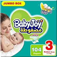 BabyJoy Compressed Diamond Pad, Size 3, Medium, 6-12 kg, Jumbo Box, 104 Diapers