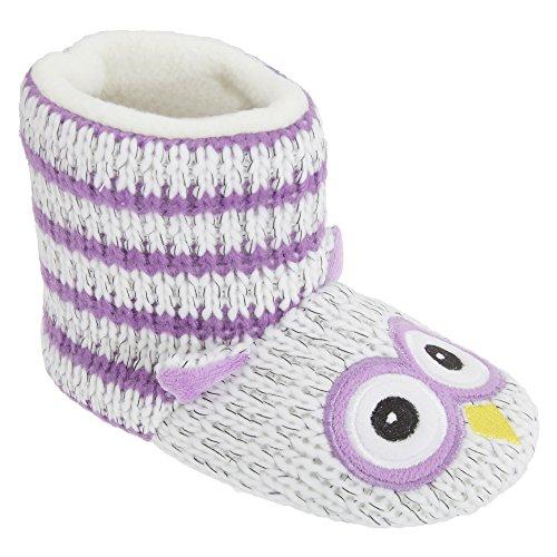 Universal Textiles Kinder Mädchen Strick-Hausstiefel mit Eulen-Design (32-33 EU) (Lila)
