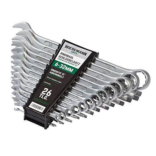 Extra Grosses Ring-Maulschlüssel Set 26tlg. 6-32mm I WIESEMANN 80270 I Schraubenschlüssel Satz im Werkzeug Halter