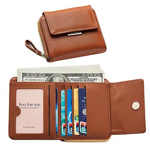 Portafoglio Donna Pelle Portamonete con Cerniera Ragazza Borsa Carina e Compatta Porta Carte Sacchetto Borsetta con Tasca Banconote Per viaggiare Marrone