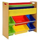 Songmics Kinderregal Bücherregal Holz Aufbewahrungsregal 6 Kästen aus Kunststoff pflegeleicht GKR03Y