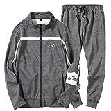 Honestyi Männer Herbst Winter Buchstaben Sweatshirt Top Hosen Sets Sport Anzug Trainingsanzug(Grau,XL)