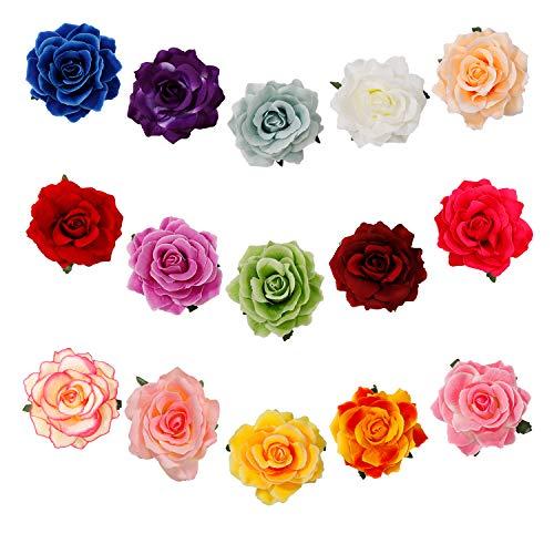 Blumen Haarspangen Rose Haarclip Blume Mehrfarbig Haarklammer Braut Hochzeit Haarschmuck Haarnadeln für Kinder Frau Mädchen Tanz 15 Stück -