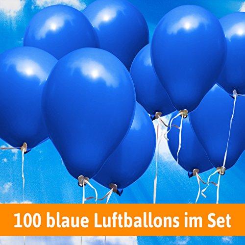 Luftballons für Hochzeit - 100 blaue Luftballons - Luftballons Helium geeignet + Gratis Geschenkkarte