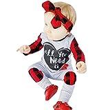 Longra Baby Strampler Karierte Strampler Langarm Strampler mit Brief Drucken T-Shirts Unisex Baby Schlafanzug Overall Frühjahr-Sommer Babykleidung Baby Anzug (Gray, 90CM 12Monate)