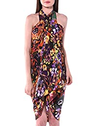 INDIAN FASHION GURU Women's Crepe Silk Beach Wear Sarong, Pareo, Wrap Swimsuit Cover Up (BO-SOR-16-003, Multicolour, Free Size)