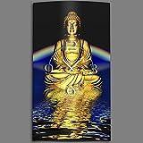 Motif bouddha zen horloge murale en acier inoxydable design horloges design 28 cm x 48 cm, silence sans tic-tac dIXTIME 0319 3D