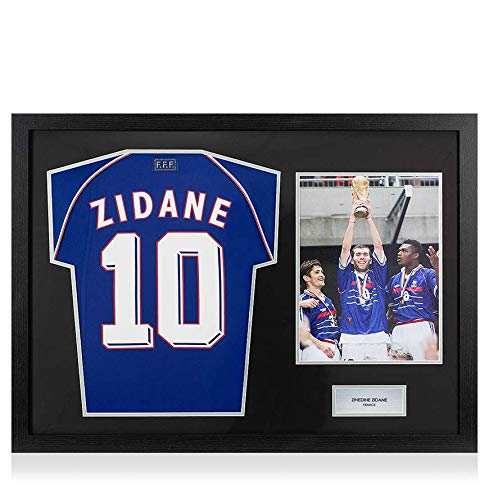 Icons.com Unsigned Zinedine Zidane 1998 France Home Shirt In Tribute Frame -