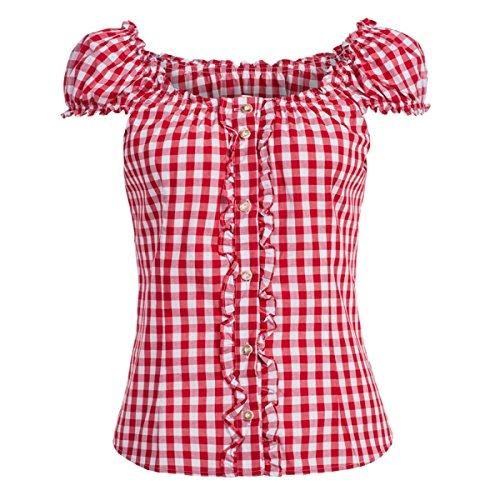 Almsach Damen Trachten-Mode Trachtenbluse Carmen traditionell geschnitten Gr.32-50 in verschiedenen Farben, Größe:42, Farbe:Rot