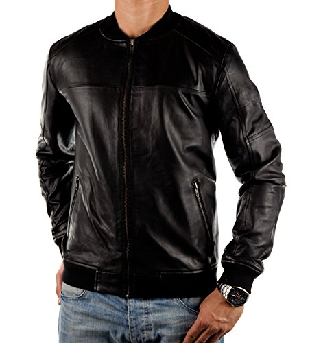 Jack & Jones Herren CORE Echtlederjacke REMY LEATHER JACKET in Schwarz (L)