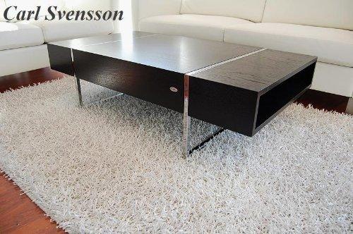 Carl Svensson Design Couchtisch Tisch Wohnzimmertisch N-111 Ablagefächer (Schwarz)