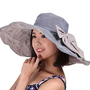 f71fa97d7d9 Butterme Women s Cotton Floppy Hat Foldable Wide Large Brim Summer ...