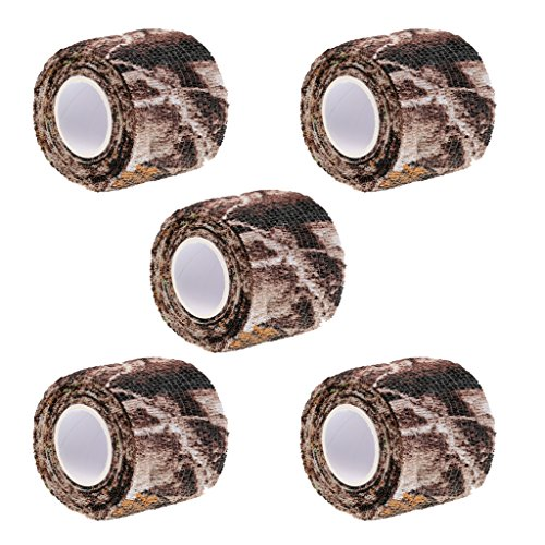 Sharplace 5 Rolle Packung Outdoor Tarnband Selbstklebende Camouflage Tape Outdoor Camouflage Band, Camo Tape Jagd Radfahren Camo Stealth Tape, 5cm x 2.2m -