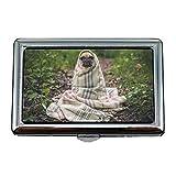 Cigarette Holder Case, Chien Carlin Animal Animal Chiot Mignon Couverture Enveloppée, Porte Carte De Visite Business Case Acier Inoxydable