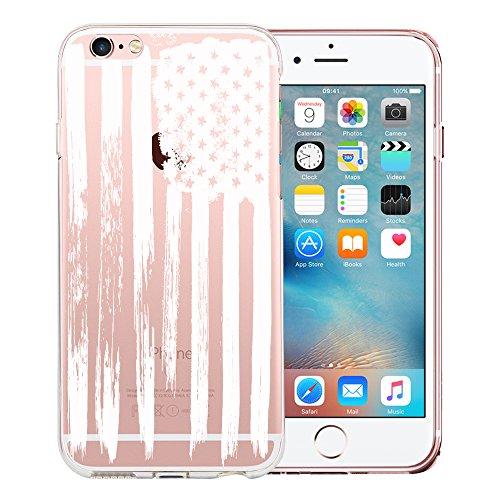Original Lanboo® Motiv Muster Druck TPU Silikon Case Cover Hülle Handytasche Schale Schutzhülle Tasche für Apple iPhone 7 Plus (5.5 Zoll) - Design 1 - Amerika USA Flagge Flag Star Nation White Weiß