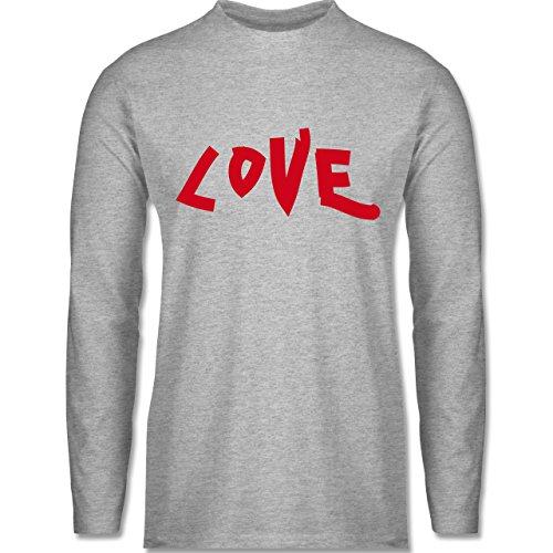 Shirtracer Romantisch - Love - Herren Langarmshirt Grau Meliert