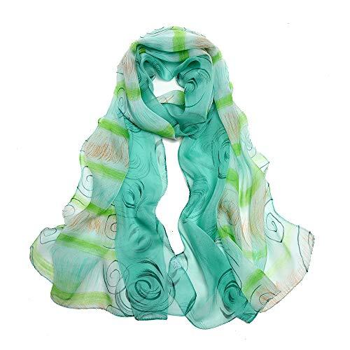 Ld foulard donna 100% seta sciarpa elegante affascinante ipoallergenico regalo l-175 * 65cm(verde)