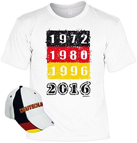 Fanartikel zur Fussball Europameisterschaft 2016 Fanshirt T-Shirt zur EM 2016 für Männer und Frauen inkl. Kappe 1972 1980 1996 2016