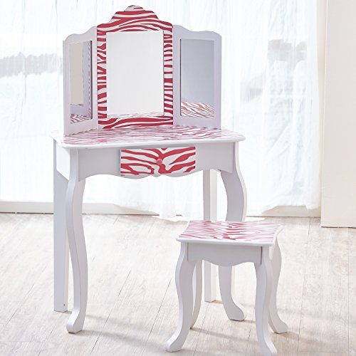Teamson Kids- Coiffeuse avec Tabouret, TD-11670B, Pink & White