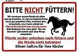 Bitte Nicht Füttern! Warnschild Pferd schild aus blech, tin sign, metallsign,