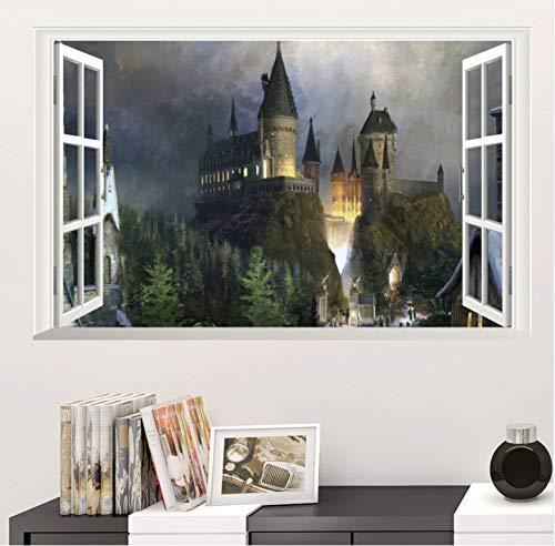 Adesivo da Parete Harry Potter Poster 3D Window Decor Adesivi Murali Decorativi di Hogwarts Carta da Parati della Scuola Materna World Kids Decal