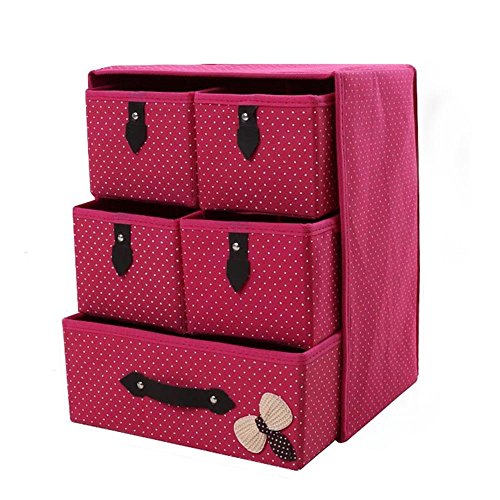Itemer 3-shelf organizer per armadio con 5cassetti addensare tuta in tessuto non tessuto storage box pieghevole contenitore home storage rose rosso