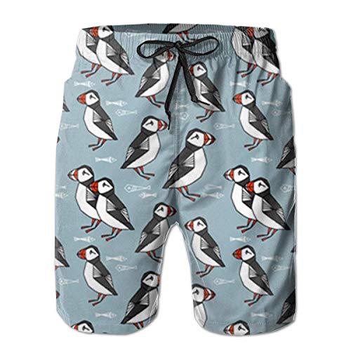 DLing Badehose für Herren Puffin Birds Blue Quick Dry Beach Board Shorts,L