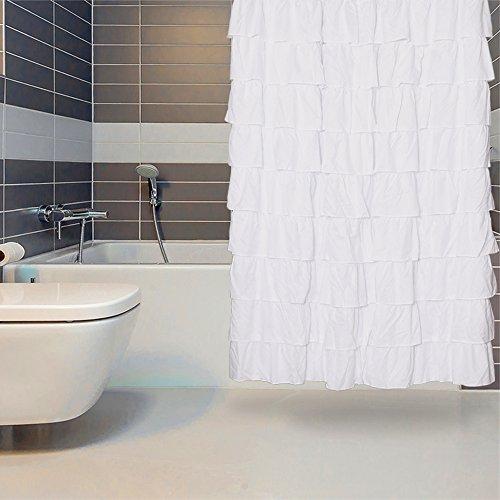 Duschvorhang weiß duschvorhang 180x180 cm Rüsche für Bad Vorhang Stange Weiss Duschvorhang Rüschen -