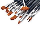 Kcopo Multifunktionales Pinsel Set Nylon Pinsel Artist Paint Brushes Premium Nylon Pinsel für Kunst Malerei Aquarell Gouache Acryl und Öl Aquarell Acryl Ölgemälde usw 12 Stück schwarz