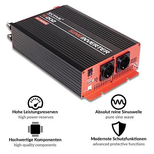 ECTIVE SI-Serie | Sinus Wechselrichter 2000W | 12V zu 230V | 7 Varianten: 300W - 3000W | 12 Volt 2000 Watt Spannungswandler DC auf AC, 12 V auf 230V Stromwandler, Inverter mit reiner Sinuswelle - 4