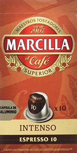MARCILLA Café Espresso Intenso Intensidad 10 - 10 Cápsulas de aluminio compatibles con cafeteras Nespresso*