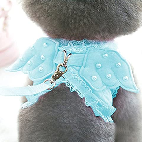 Zhhlaixing Fournitures pour animaux Adorable Pet Cat Dog Outdoor Walking Lace Harness Set With Lace Artificial Pearl