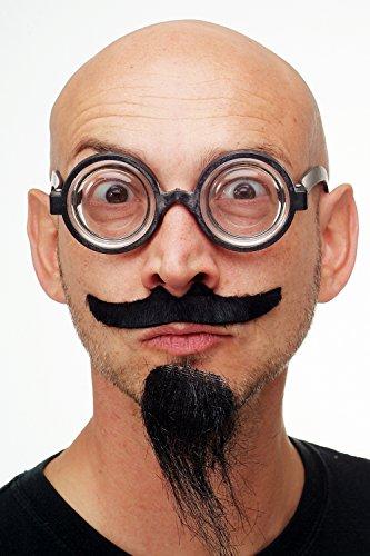 DRESS ME UP - Karneval Fasching Halloween Bart Schnurrbart & Kinnbart Set zum Kleben mit Brille Verrückter Professor Schuldirektor MM-34