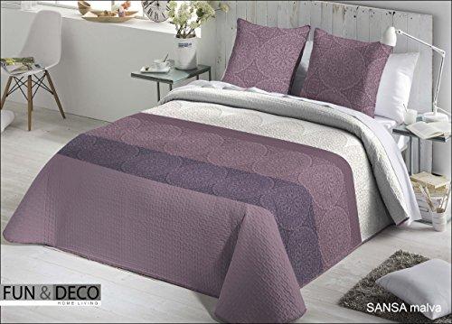 Fundeco.- Couvre-lit bouti matrimonial Sansa Mauve 250 x 270 cm + 2 housses de coussin 60 x 60 cm