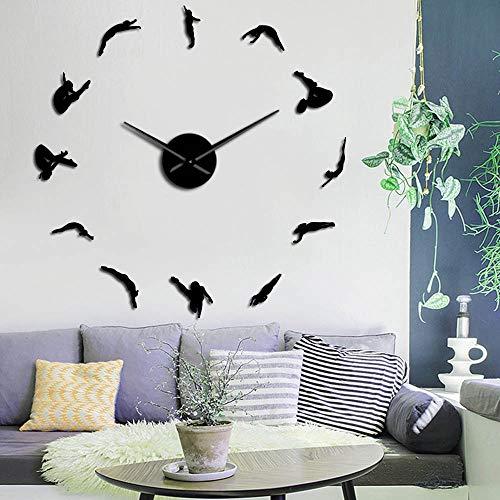 EPSMK Reloj de Pared 3D DIY High Dive Sports Wall Art Decoración para el hogar Reloj Reloj Buceadores Buceo Silueta Pegatinas Sin Marco Reloj de Pared Grande Buzos Regalo 47 Inch Negro