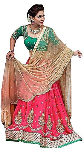 Adhya Pink And Green Embroidery Work Lehenga Choli