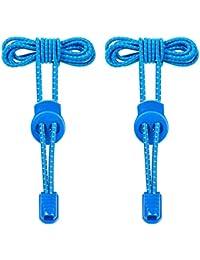 Cordones Elásticos para Zapatillas,iBuger Sin Atar 120cm Corbata Cordones de Zapatos para Niños,Adulto,Ancianos,Discapacitado,Maratón y Triatlón Atletas Cordones (Azul)