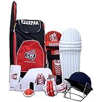 CW Junior bate de deporte Cricket Kit rojo tamaño nº 4sin ideal para 7–8años niño con Cricket casco, protector de brazo, muslo Guardia bolsa de hombro, protector Abdominal, pierna guardia, guantes de bateo,