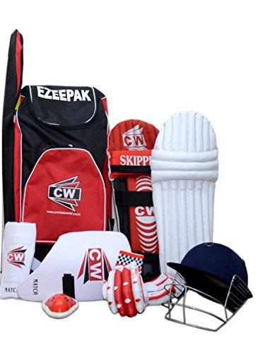 CW Junior Sport Cricket-Set rot Größe Nr. 4ohne Bat ideal für 7-8Jahr Kind mit Cricket-Helm, Arm, Oberschenkel Guard Schultertasche, Guard, Bein Windfang, Batting Handschuhe,