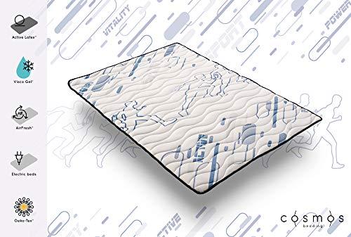 Cosmos Topper Sporty - Mousse de Support HR Active Latex - Memoire de Forme Visco Gel - Graphitex - 3 cm - 140 x 190 cm