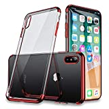iPhone Xs Chrome Schutzhülle, Galvanik, für iPhone X / iPhone Xs, Ultradünn, Transparent, Kristallklar, Soft Gel-Hülle für iPhoneX / iPhoneXS, 5,8 Zoll, Clear Back + Red Frame
