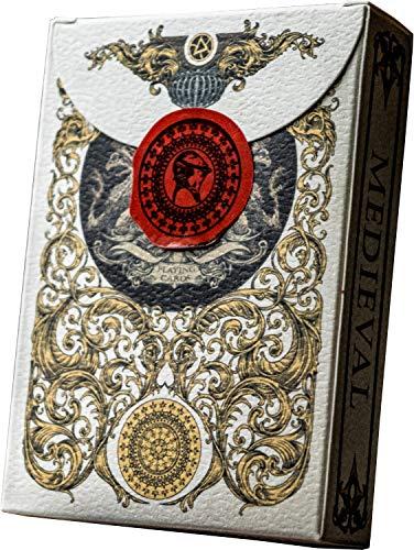 MITTELALTERLICHE GOLD-SPIELKARTEN, Kartenspiele, Cool Magic-Karten, Beste Pokerkarten, Einzigartige illustrierte Schwarz- und Rottöne für Kinder und Erwachsene, Kartenspiele, Standardgröße