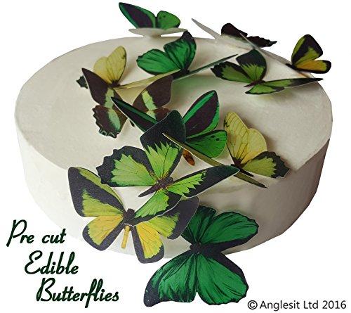 12 x Vorgeschnittene schöne grüne Schmetterlinge essbares Reispapier/Oblatenpapier Kuchendekoration, Dekoration für Cupcake Kuchen Dessert, für Geburtstag Party Hochzeit Babyparty Halloween Ostern (L)